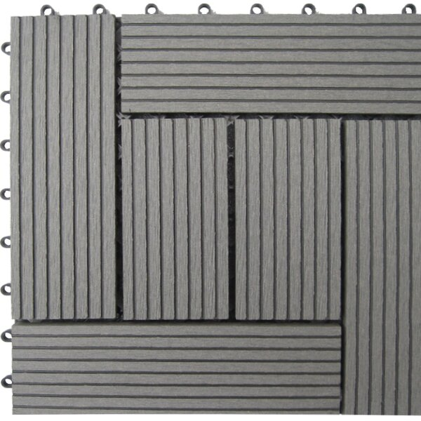 Bamboo Composite 12 x 12 Deck Tiles in Grey by Nat