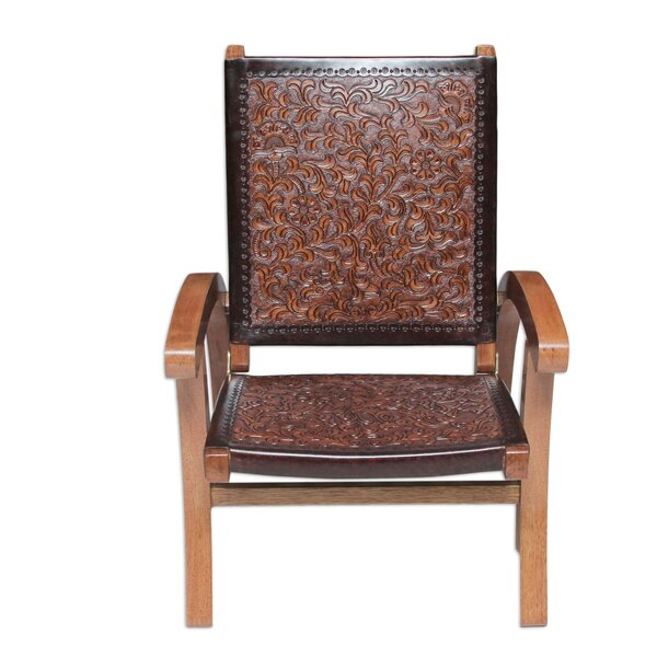 Colonial Honey Tornillo Wood and Leather Folding Chair by Novica