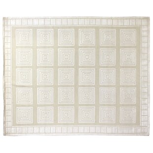 Affordable Greek Key Hand-Knotted Wool Ivory/White Area Rug By Exquisite Rugs