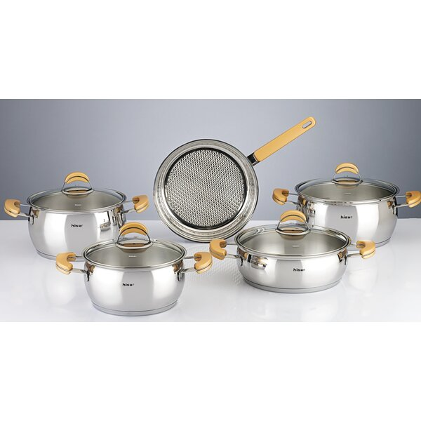 Monaco 9 Piece Stainless Steel Cookware Set by Hisar