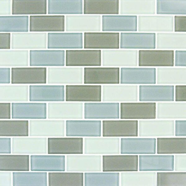 Majestic Ocean Brick 1 x 2 Glass Mosaic Tile in Gray by MSI