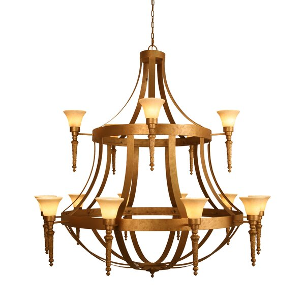 Wyoming 15 - Light Shaded Tiered Chandelier By Fleur De Lis Living