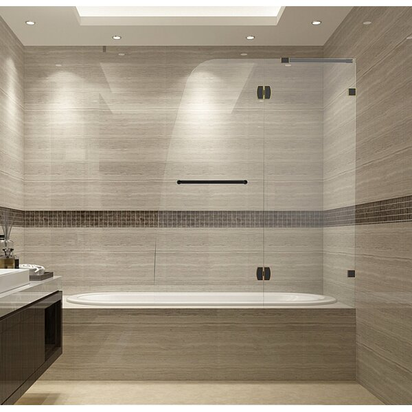 Aston Soleil 48 Quot X 58 Quot Hinged Completely Frameless Tub Height Shower Door Wayfair