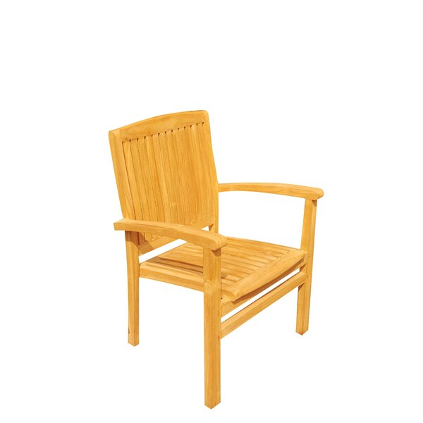 Wave Stacking Teak Patio Dining Chair by Teak Smith