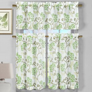 Calidia 3 Piece Faux Linen Kitchen Curtain Set