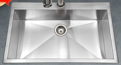 Bellus 33 L x 22 W Zero Radius Topmount Large Single Bowl Kitchen Sink
