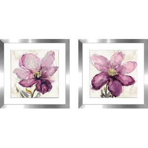 'Floral Wash I' 2 Piece Framed Watercolor Painting Print Set by Latitude Run