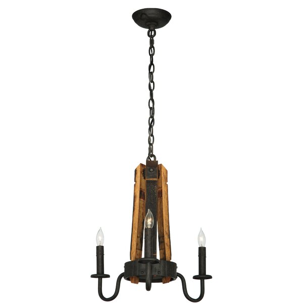 Barrel Stave Madera 3-Light Candle Style Chandelier by Meyda Tiffany