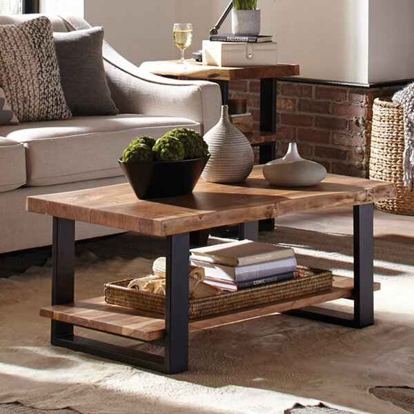 Bexton Live Edge Coffee Table with Shelf by Foundry Select Foundry Select