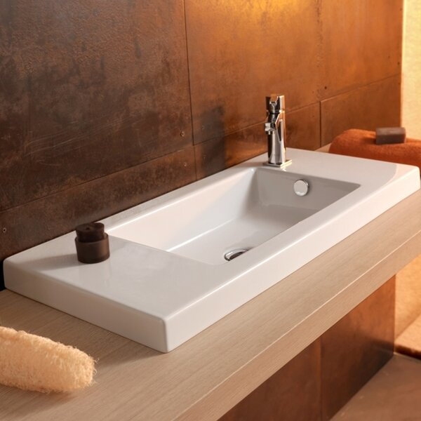 Serie 35 Ceramic Rectangular Drop-In Bathroom Sink with Overflow by Ceramica Tecla by Nameeks