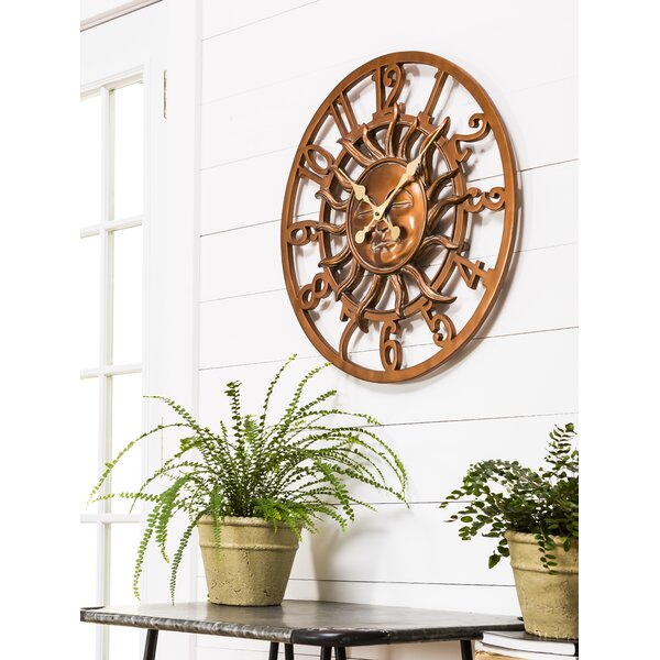 Pennside Oversized Sunface Outdoor 24 Wall Clock by Bloomsbury Market