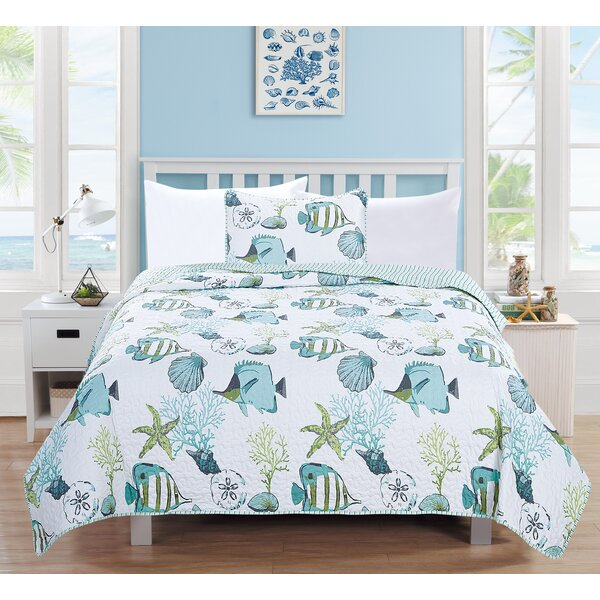 Seaside Reversible Quilt Set by Home Fashion Designs