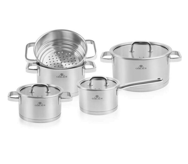 Prestige Stainless Steel Pot Set with Lids by MaximaHouse