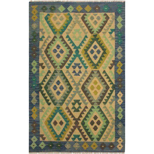 One-of-a-Kind Jorge Handmade Kilim Wool Blue/Light Green Area Rug by Isabelline