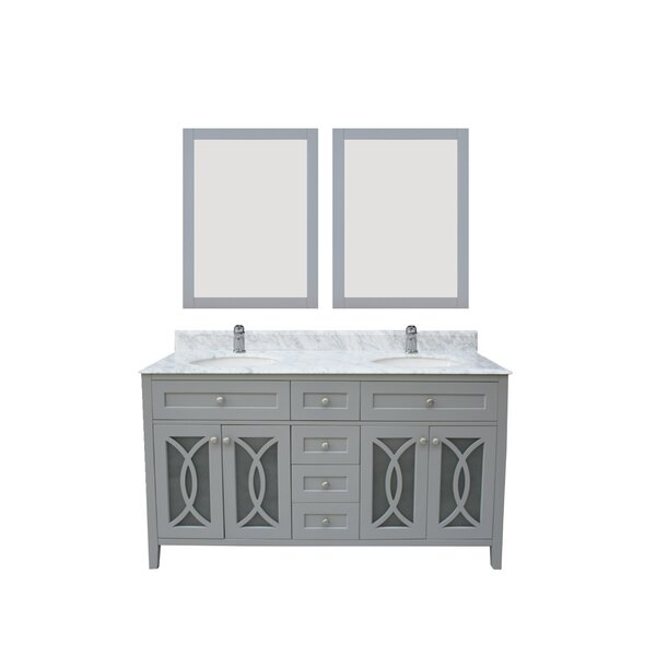 Margaret Garden 61 Double Bathroom Vanity Set with Mirror by NGY Stone & Cabinet