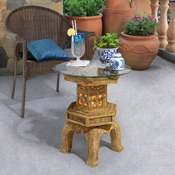 Tranquil Pagoda Illuminated Glass Topped End Table By Design Toscano 2019 Sale