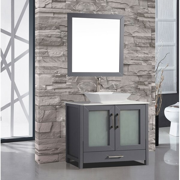 Tahiti 36 Single Modern Bathroom Vanity Set with Mirror by MTD Vanities