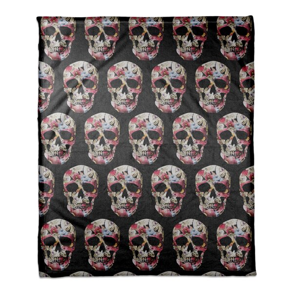Floral Skull Fleece Throw by The Holiday Aisle