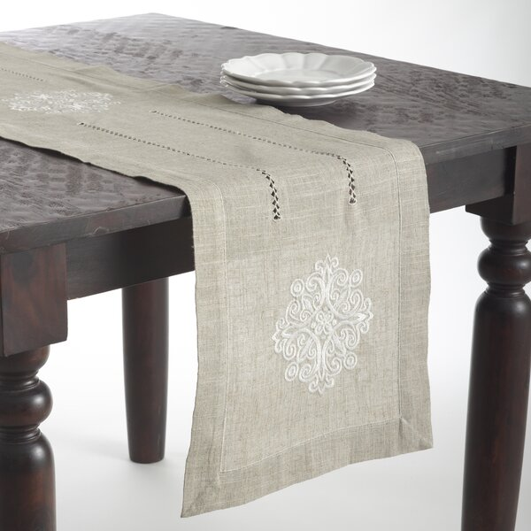Lucia Embroidered Medallion Design Oblong Table Runner by Saro