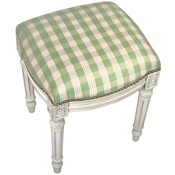 Plaid Upholstered Vanity Stool by 123 Creations