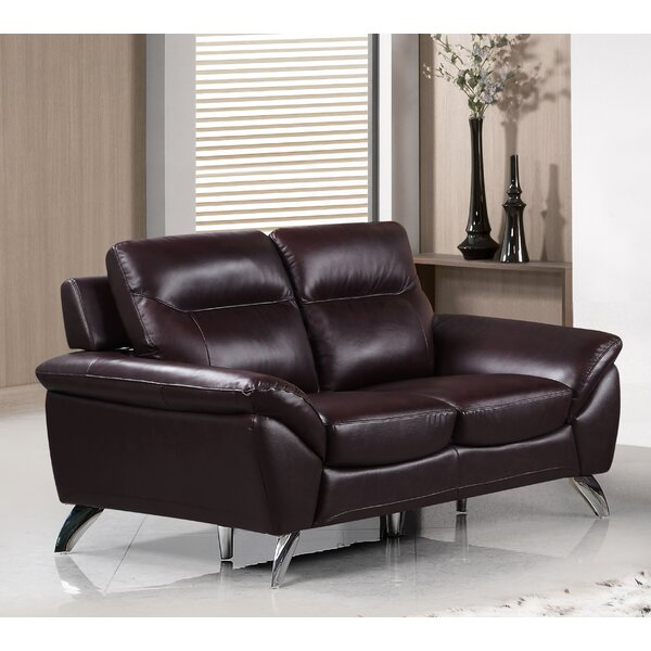 Richman Modern Leather Loveseat (Set Of 3) By Orren Ellis Coupon