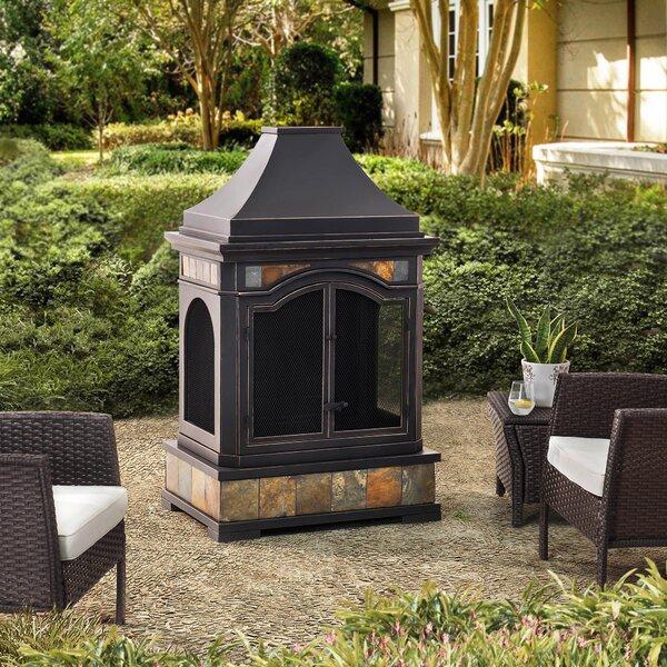 Monroe Steel Wood Burning Outdoor Fireplace by Sunjoy