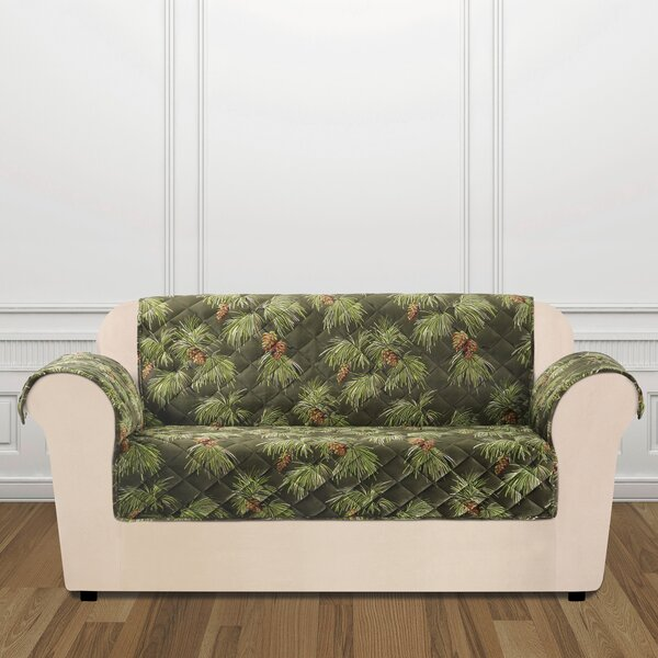 Lodge Pinecone Box Cushion Loveseat Slipcover By Sure Fit