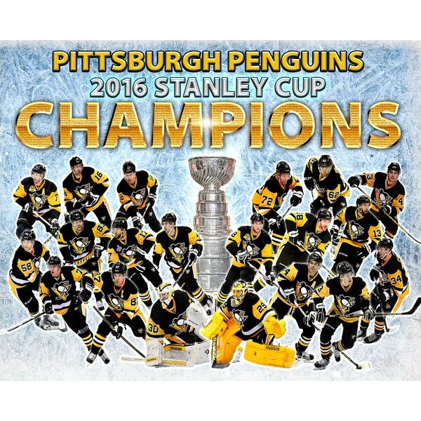 2016 Stanley Cup Champions Pittsburgh Penguins Team Framed Photographic Print Wrapped on Canvas by Frames By Mail