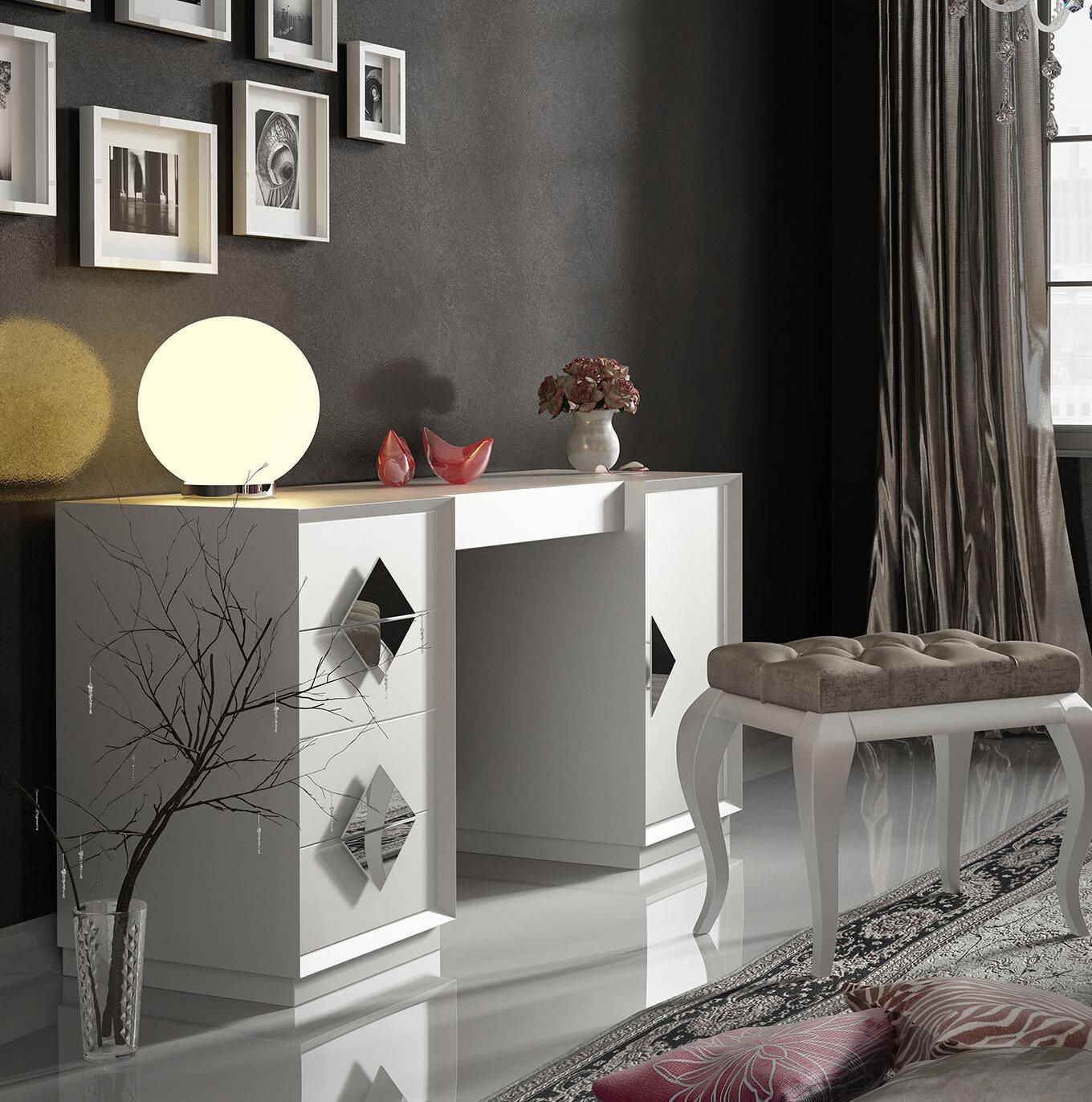 Everly Quinn Kirkwood Bedroom Makeup Vanity Set With Mirror Wayfair