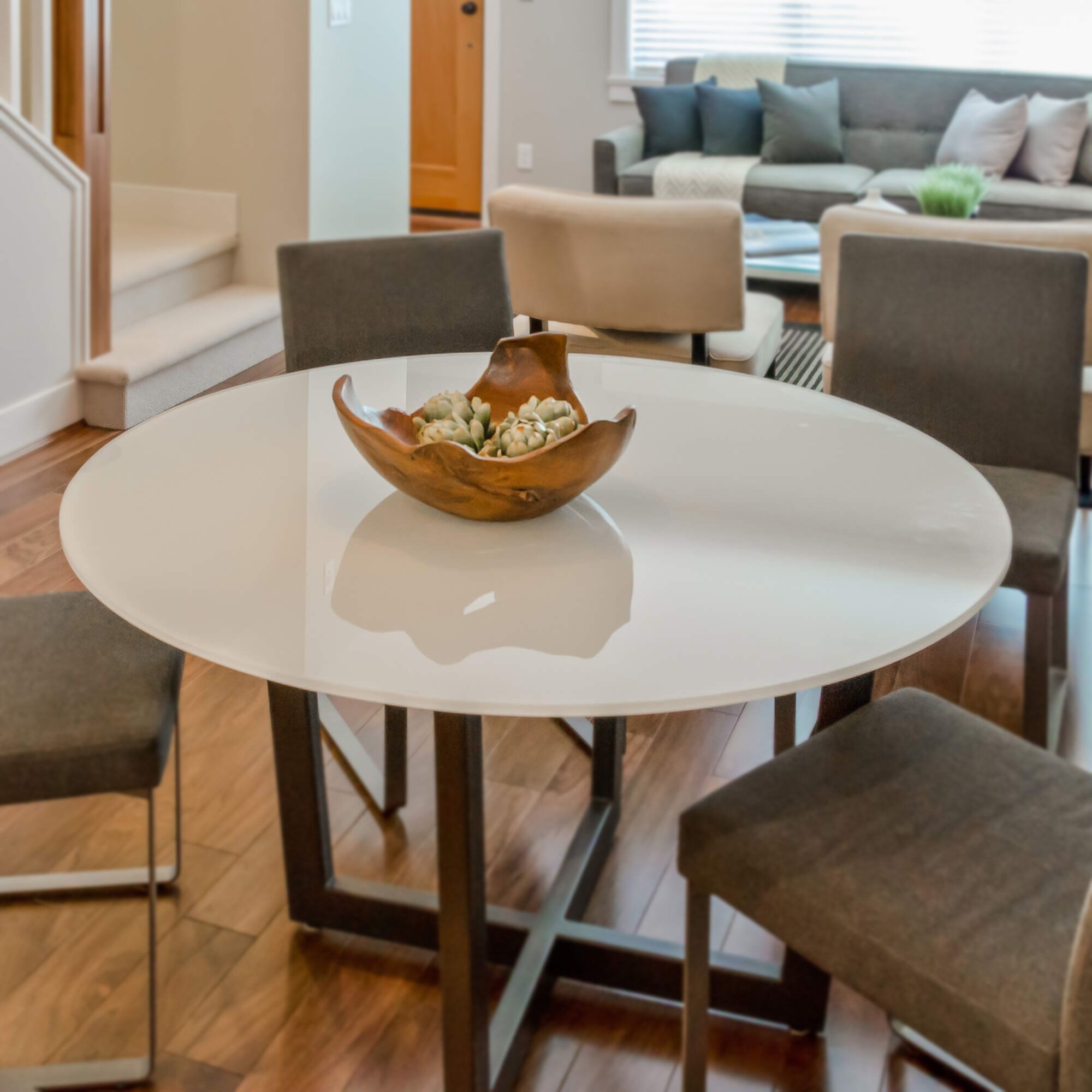 Round Flat Tempered Back Painted Glass Table Top