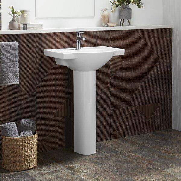 Veer Veer Ceramic 21 Pedestal Bathroom Sink with Overflow by Kohler