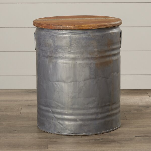 Cordelia Metal Wood Drum Stool by Laurel Foundry Modern Farmhouse