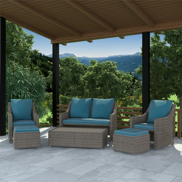 Coyne Patio 6 Piece Sofa Seating Group with Cushions by Highland Dunes