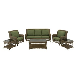 6 Piece Rattan Sofa Set with Cushions By Cole & Grey
