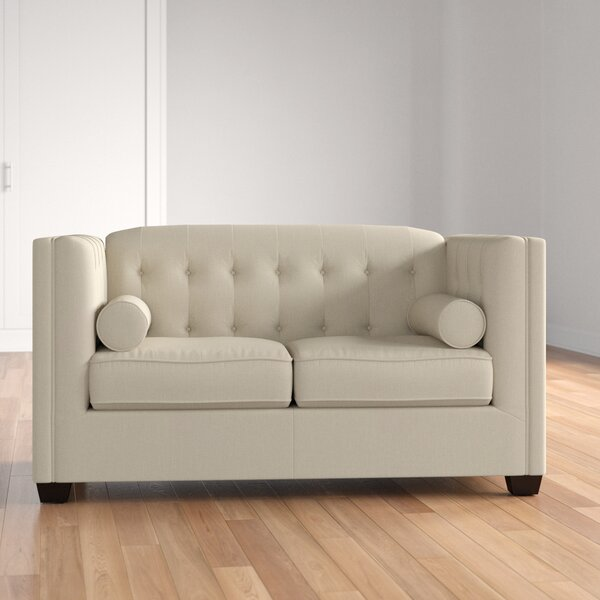 McDougal Chesterfield Solid Wood Loveseat By Three Posts