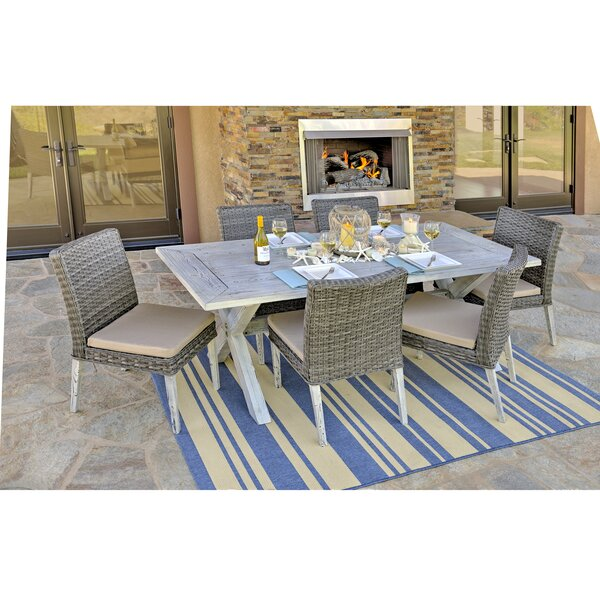 Pettengill 7 Piece Patio Dining Set with Cushions by Bungalow Rose