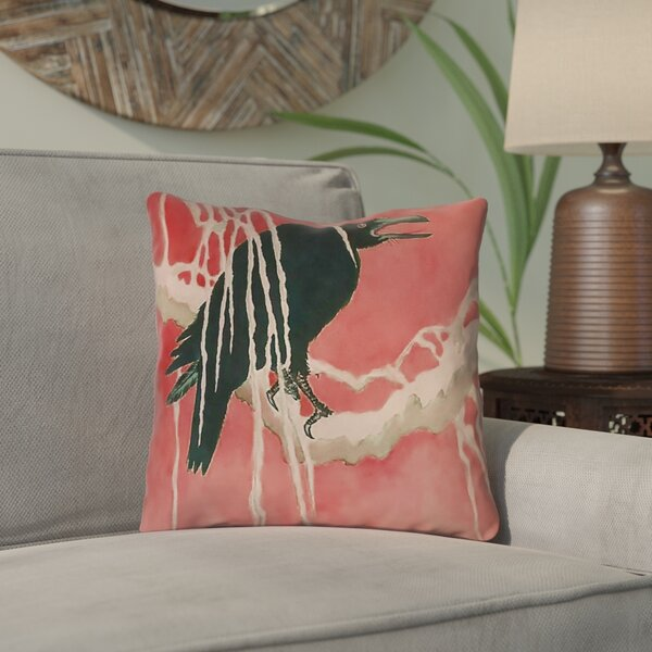 Montreal Crow and Willow Outdoor Throw Pillow by Bloomsbury Market