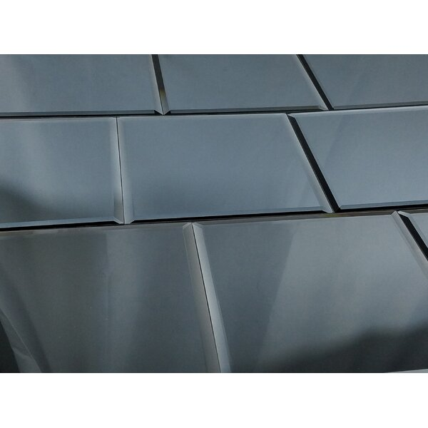 Echo 8 x 8 Mirror Glass Tile in High Gloss Graphite by Abolos