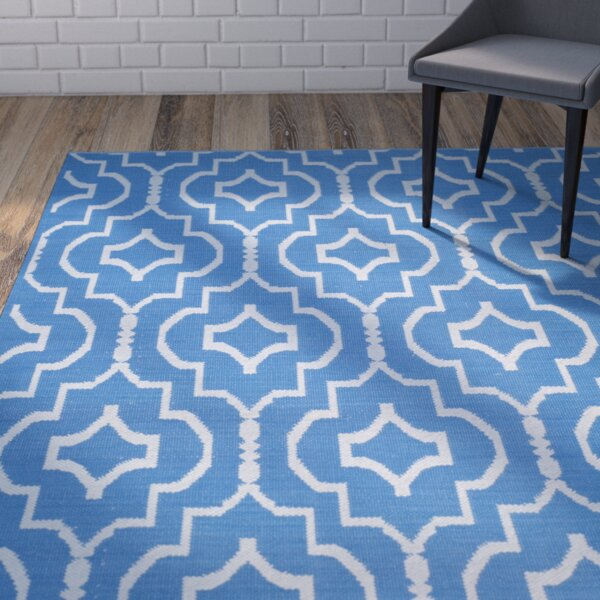 Rennie Hand-Woven Blue/Ivory Area Rug by Wrought Studio