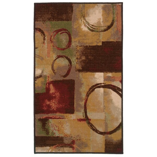 Gallegos Abstract Beige/Red Area Rug by Red Barrel Studio