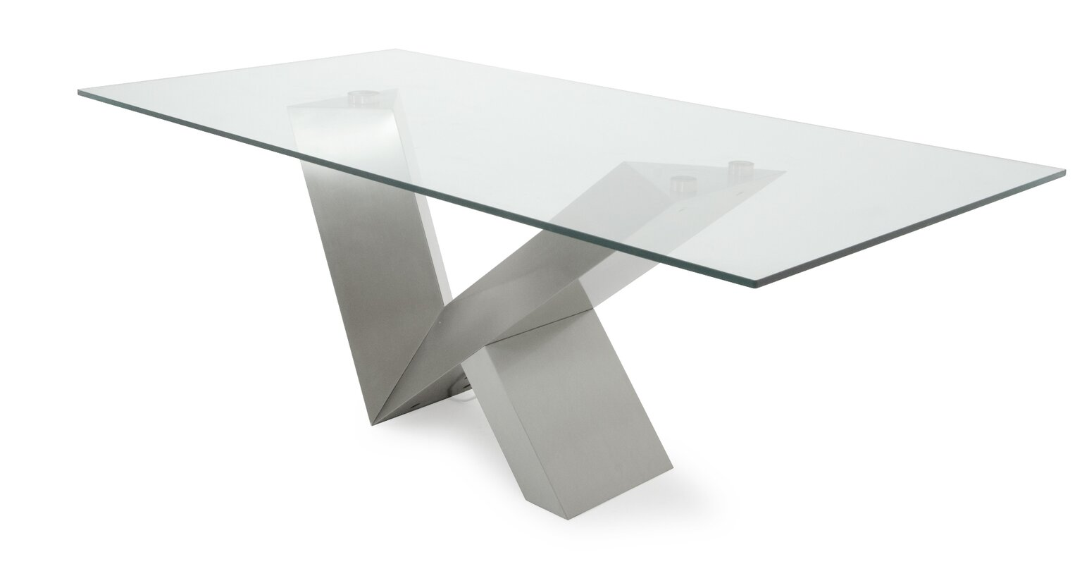 Attractive Carberry Glass/Stainless Steel Dining Table