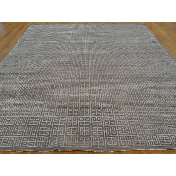 One-of-a-Kind Belmonte Hand-Knotted Grey Wool/Silk Area Rug by Isabelline