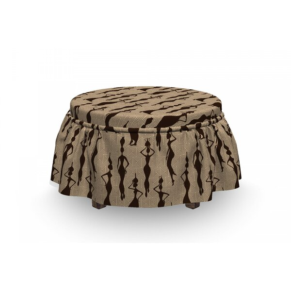 African Woman Carry Vases 2 Piece Box Cushion Ottoman Slipcover Set By East Urban Home