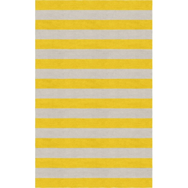 Cessna Hand Tufted Wool Silver/Gold Stripe Area Rug by Rosecliff Heights