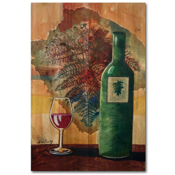 Wine Bottle and Leaf by Lisa Fertig Painting Print Plaque by WGI-GALLERY