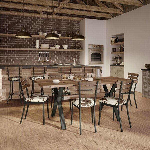 Darcelle 5 Piece Metal and Aged Wood Dining Set by 17 Stories