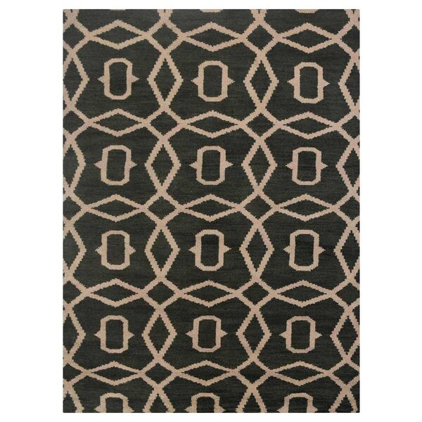 Frisange Geometric Hand-Knotted Wool Green/Beige Area Rug by Brayden Studio