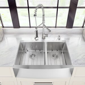 33 inch farmhouse apron double bowl 16 gauge stainless steel kitchen sink with