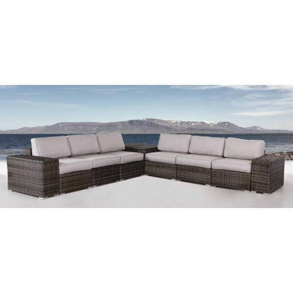 Wabbaseka Resort Grade Storage Cup Table 4 Piece Sectional Seating Group with Cushions by Sol 72 Outdoor