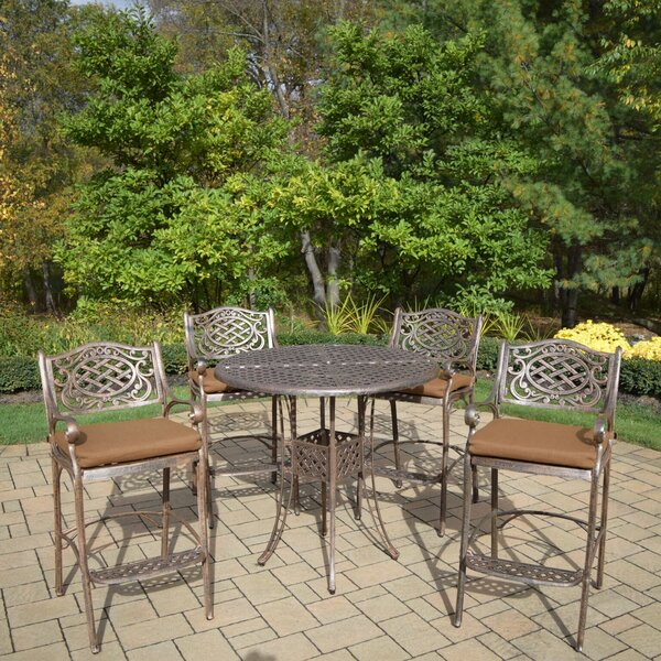 Braddock 5 Piece Sunbrella Bar Height Dining Set with Cushions by Fleur De Lis Living